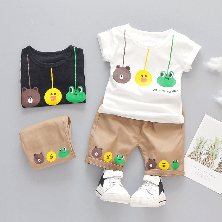Baby Boy Clothes 18-24 Months Summer Cartoon O-neck Short Sleeved T-shirts + Shorts Infant Clothing Kids Bebes Jogging Suits