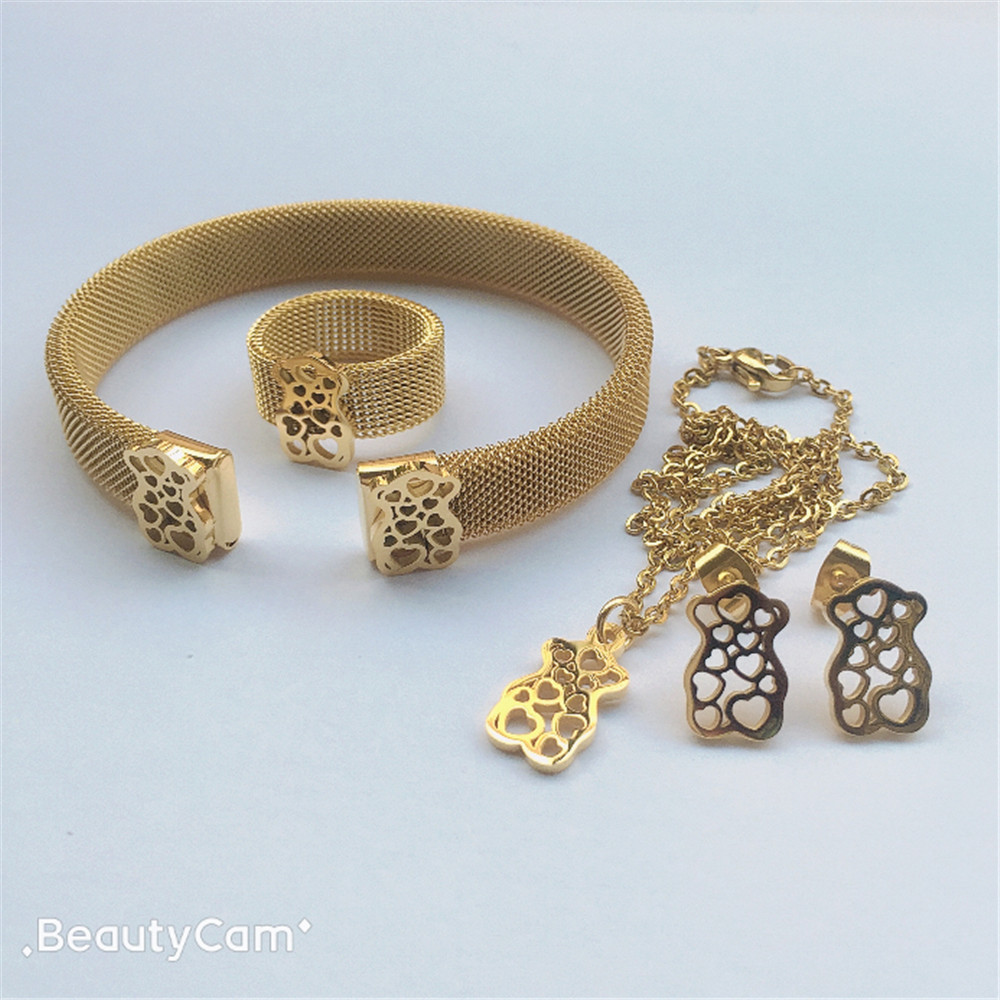 bear jewelry set stainless steel jewelry set best party gift