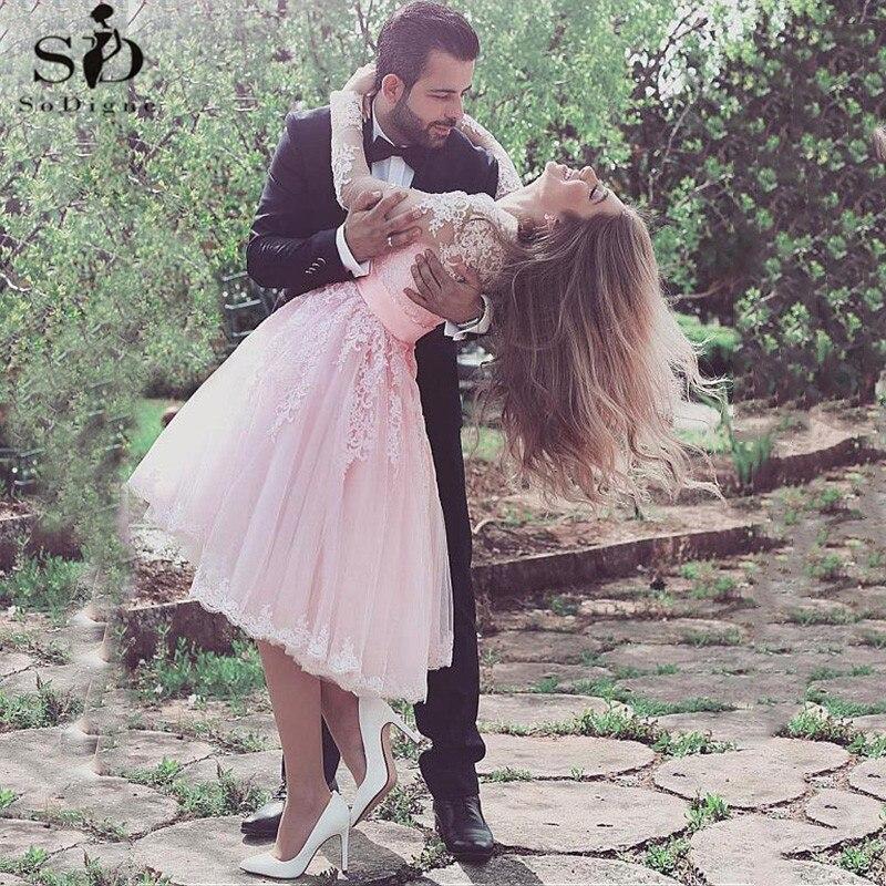 Tulle V-neck Tea Length Short Wedding Dresses 2020 Sexy Lace Appliques Illusion Short Princess Bridal Gown Vestidos Novia Cortos