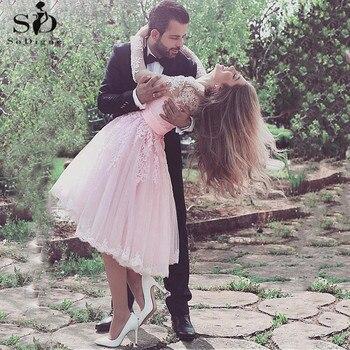 Tulle V-neck Tea Length Short Wedding Dresses 2020 Sexy Lace Appliques Illusion Princess Bridal Gown vestidos novia cortos - discount item  43% OFF Wedding Dresses