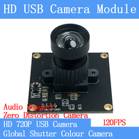 HD 120FPS MJPEG USB Camera Module Non Distortion Colour Global Shutter High Speed OTG Windows Android Linux UVC 720P USB Webcam
