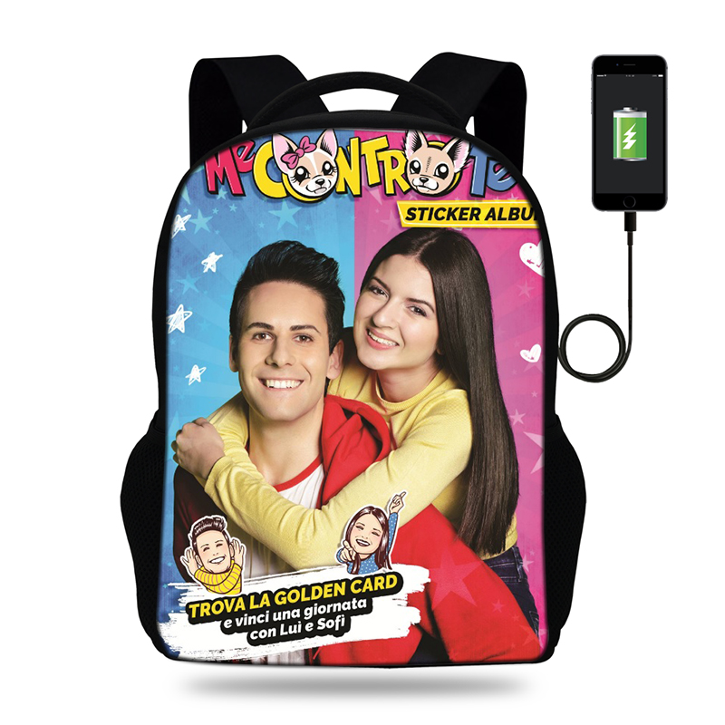 BULEFLYER Me Contro Te Print Backpacks Boys/Girls School Bags Laptop Travel Bags Teenage Notebook Backpack USB Charge Mochila