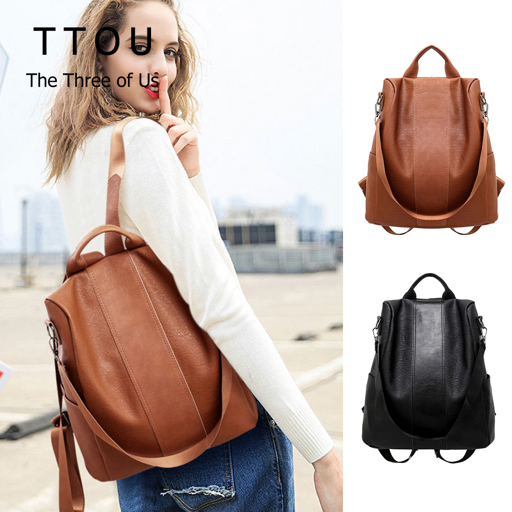 Vintage Anti-theft Backpack Basic Solid Pu Leather Shoulder Travel Bag Casual Large Capacity Book Hold For Teenage Students
