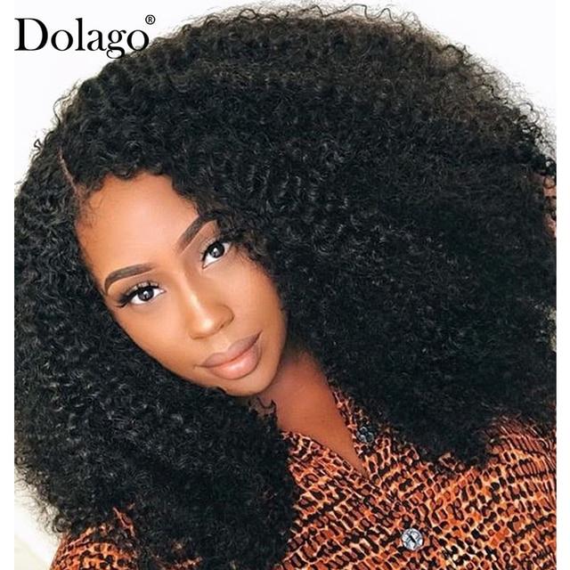 Afro Kinky kıvırcık dantel ön peruk 13x6 kısa Bob İnsan saç peruk 250 yoğunluk U parçası peruk brezilyalı Frontal peruk bakire 4B 4C Dolago
