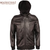 100% Natural Sheepskin Jacket Hood Soft Thin Leather Jacket Men Real Skin Coat Boy Leather Clothing Spring Autumn M359