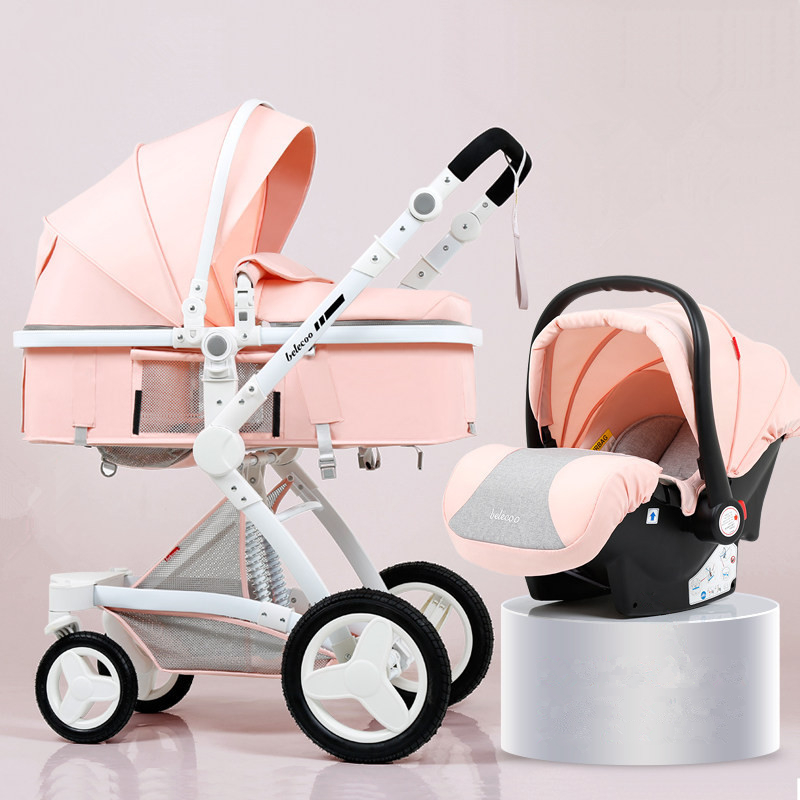High Landscape Baby Stroller 3 in 1 Luxury Hot Mom Stroller Travel Pram Reversible Baby Trolley Pink Stroller with Car Seat
