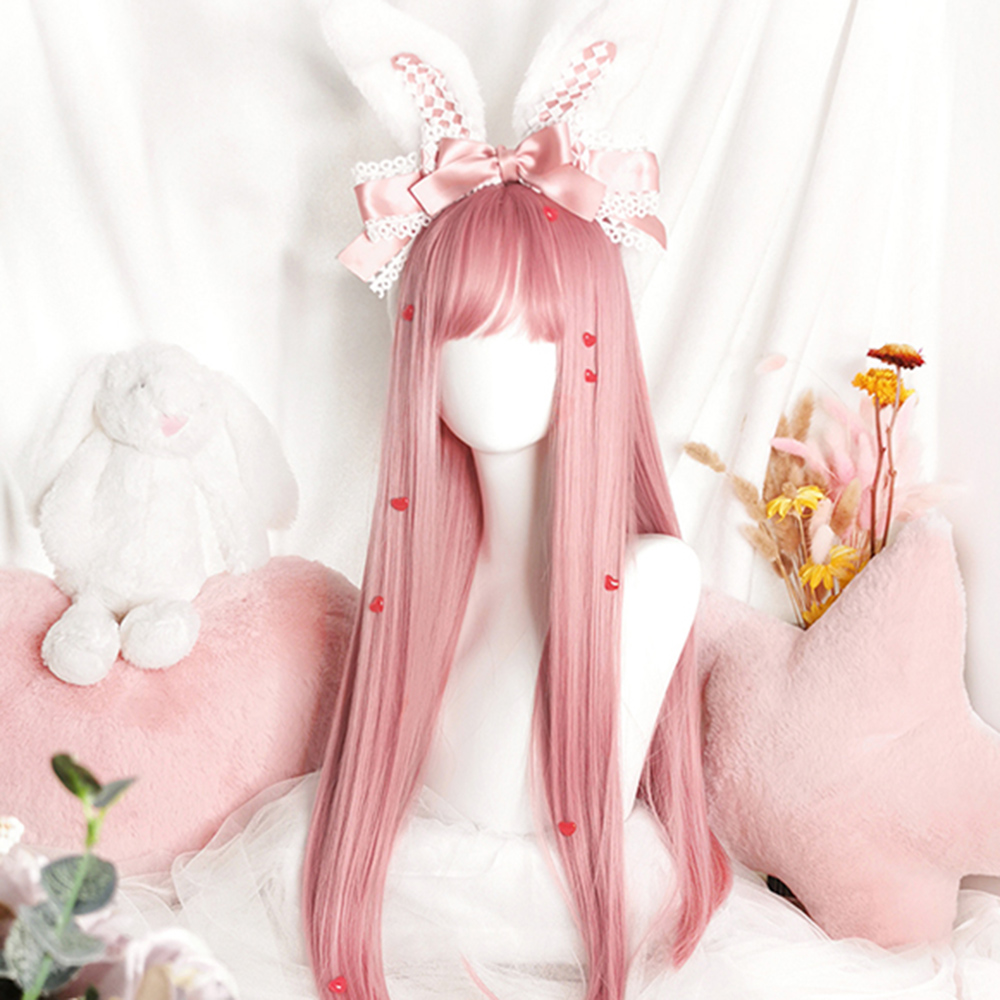 Cosplaysalon 73CM Lolita Long Straight Pink Bangs Heat Resistant Cute Party Synthetic Hair Cosplay Wig
