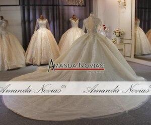 Image 2 - Lange ärmeln dubai luxus hochzeit kleid puffy ballkleid mit langen zug nach auftrag hochzeit kleid