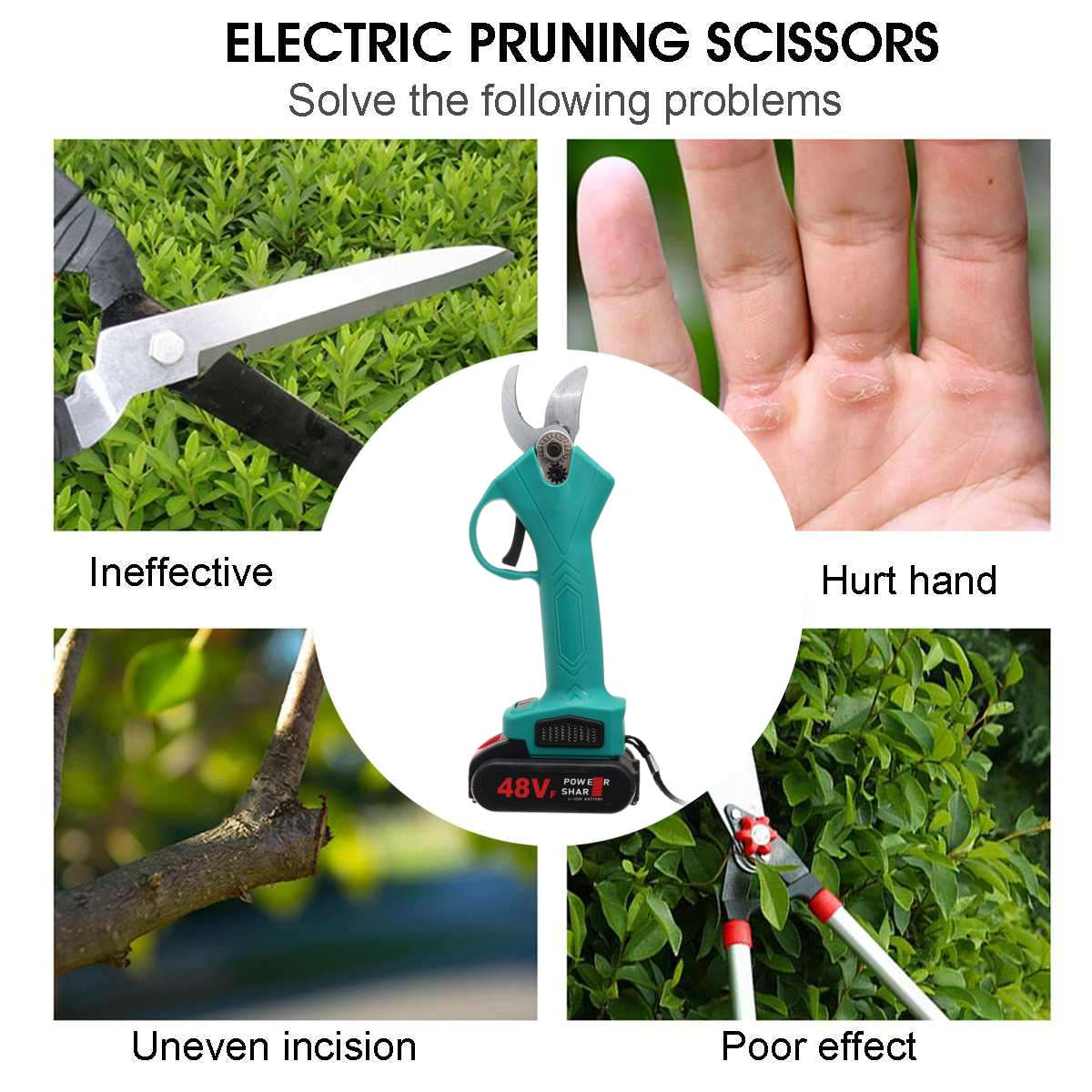 Electric Garden Pruning Secateur Battery Pruning Pruner Branch With Tool Cutter Shears Cutting Rechargeable Scissors 1pc