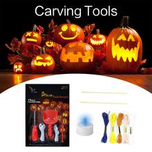 Halloween 5PCS Pumpkin Carving Tools DIY Light With Extra 8 Drawings For Accessory
