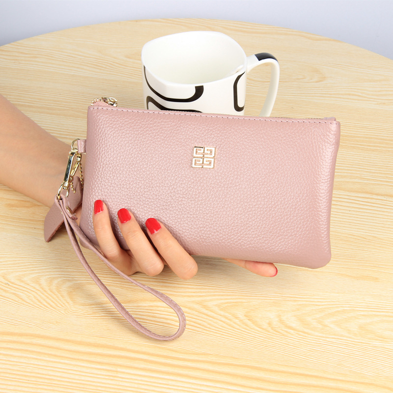 REALPERKY Genuine Leather Womens Litchi Pattern Wallet  Leather Clutch Bag Women Long Wallets Ladies Coin Purse Wallet Female
