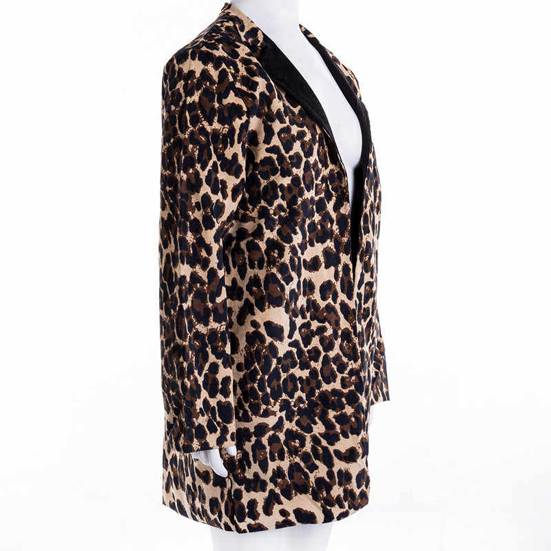 Hirigin Baru Fashion Wanita Leopard Cetak Blazer Wanita Cardigan Jaket Wanita Slim Musim Gugur Kasual Mantel Lebih Tahan Dr