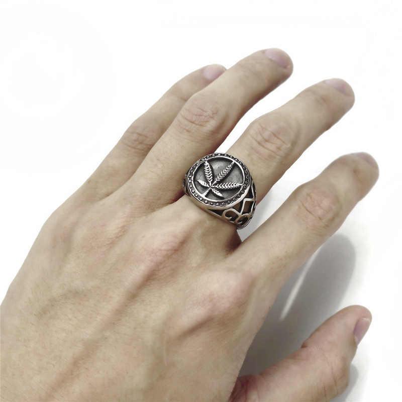 Punk Gótico Oco Projeto Rodada Anéis de Sinete de Folha de Bordo Folha de Cânhamo Do Vintage Dedo Anéis dos homens do Sexo Masculino Vintage Da Moda Jóias