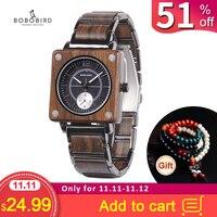 marque de luxe BOBO BIRD Wooden Men Square Watches Luxury Quartz Personalized Wood Watch Gifts for Men relojes de marca famosa