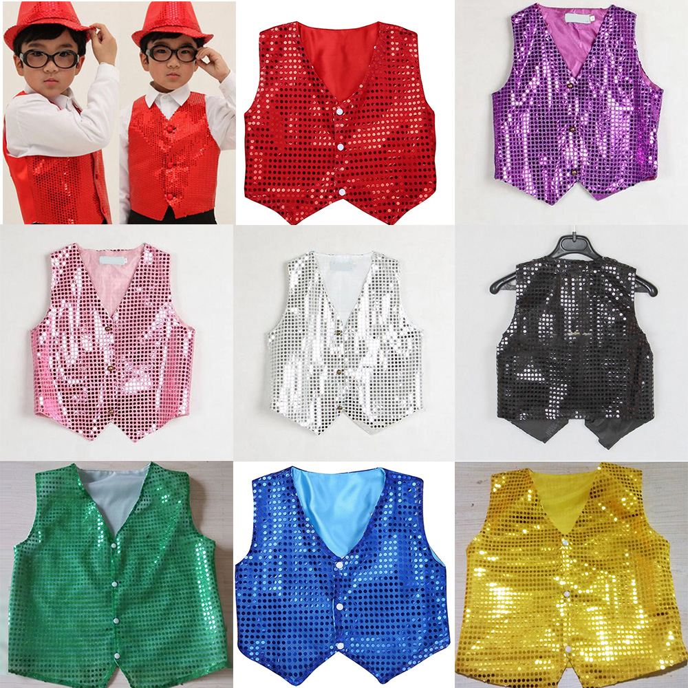 Boys & Girls Sequin Dance Vest Waistcoat Show Costumes Dancewear Fashion Kids Top Ballo Children Sequined Outfit Modern Tops