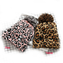 Beanie Skullcap Female Autumn Winter Soft Warm Adult Women Men Leopard Crochet Hat Knit Hairball Cap