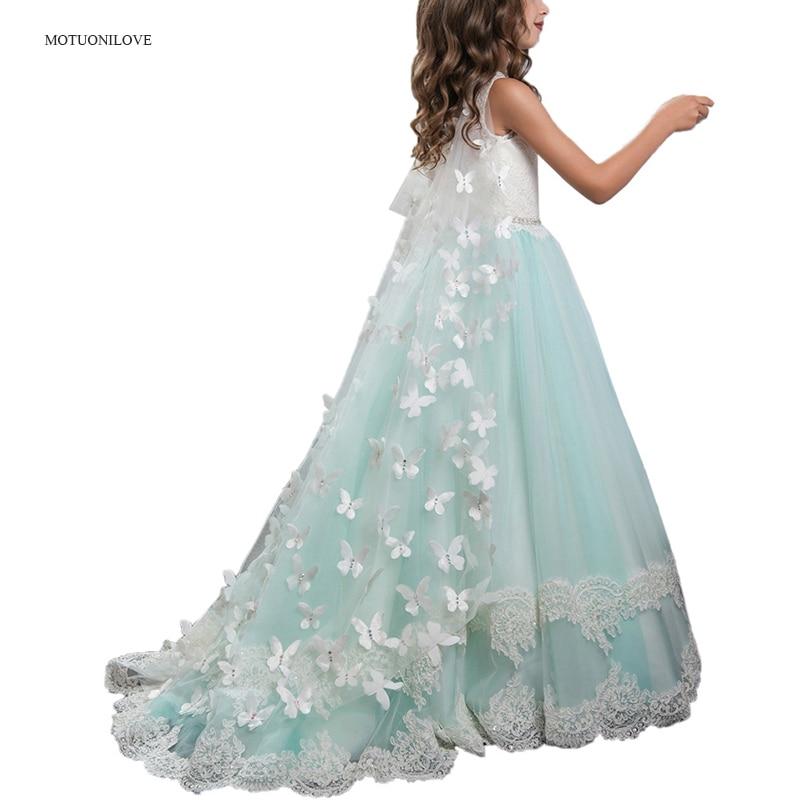 Hollow Back Detachable Veils Cloak Elegant Girls Evening Party Dress Kids Dresses Girls Children Pageant Gown Wedding Long Dress