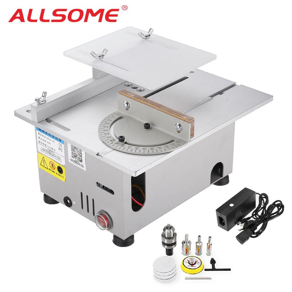 ALLSOME DC 12-24V T6 Mini Precision Table Saws DIY Wood Working Lathe Polisher Drilling Machine HT2828