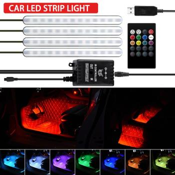 LED Car Foot Light Ambient Lamp With USB Wireless Remote Music Control Multiple Modes Automotive Interior Decorative Lights car rgb usb app led 5v 18smd foot lamp ambient light voice control music lamp phone control lamp 5050 18 x 4 smd