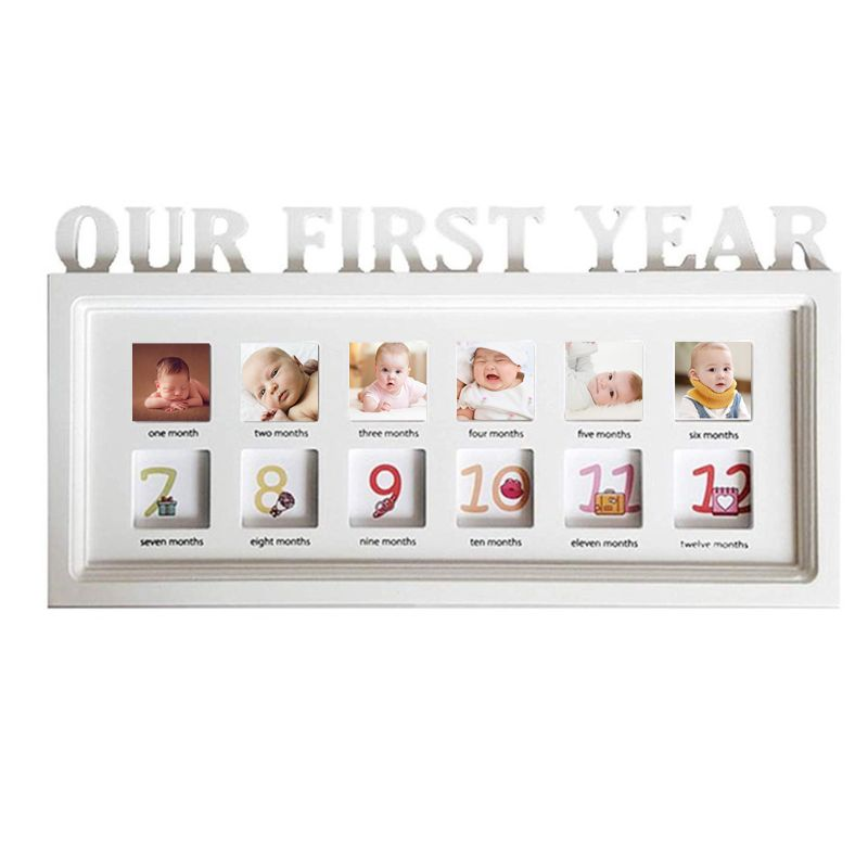 Infant 12 Months Photo Frame Wooden Baby First Year Growth Record Creative Newborn Photos Display Decoration