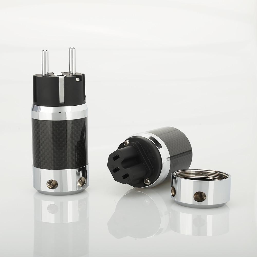 Audiocrast Carbon Fiber Schuko Power Plug IEC Female Audio Grade DIY Power Cable Leads HIFI