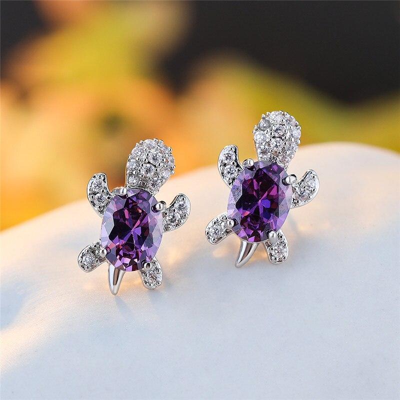 Multicolor Oval Zircon Cute Animal Small Turtle Stud Earrings For Women Wedding Jewelry Vintage Fashion Birthstone Earrings Gift