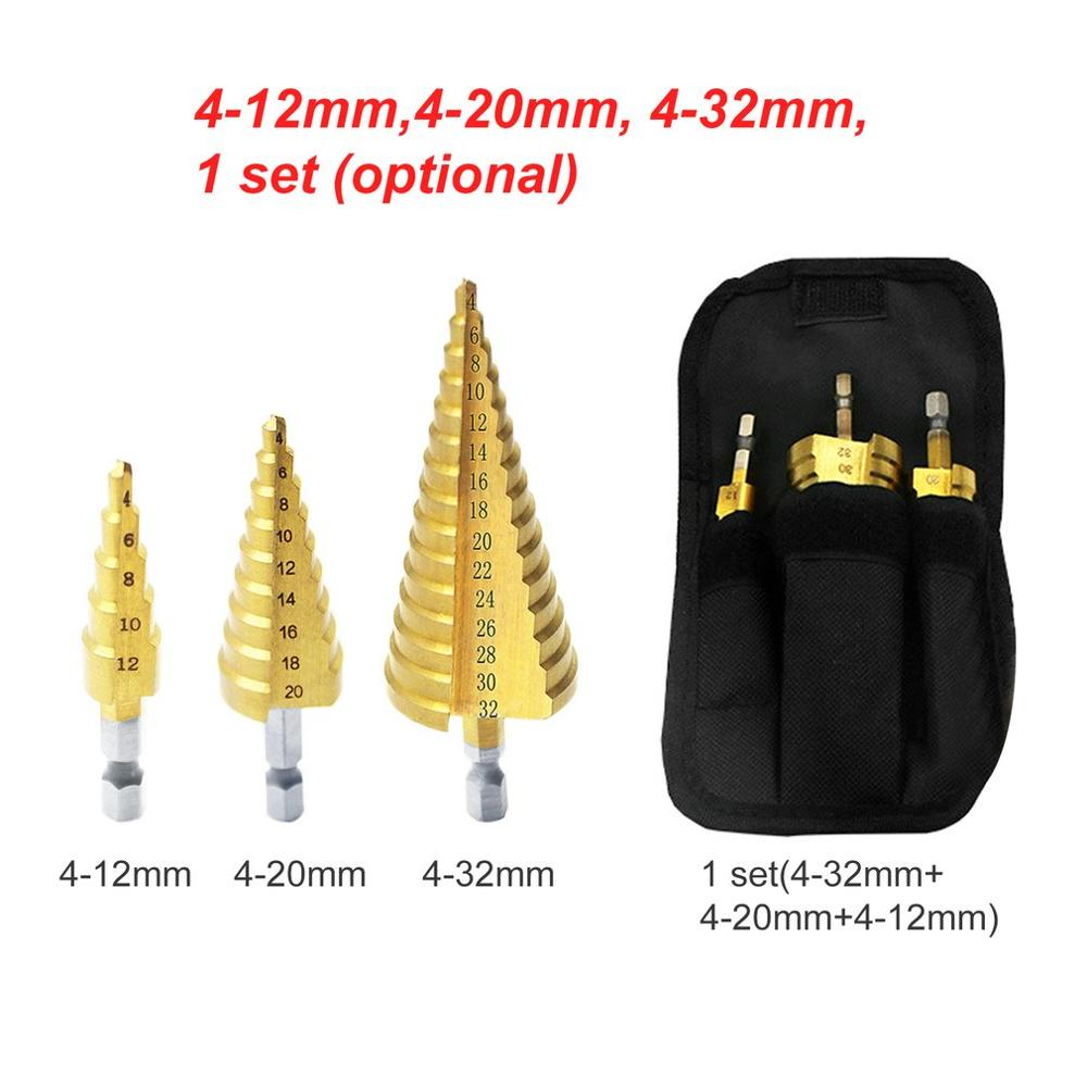 HSS Titanium Coated Step Drill Bit Set Hex Shank Step Cone Drilling Bit For Metal Wood Drill Hole Cutting Tools