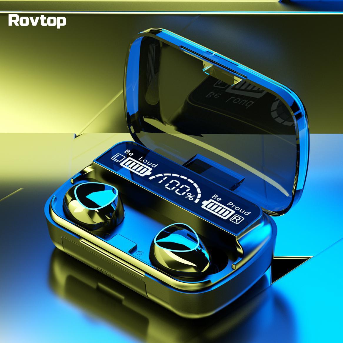 Auriculares TWS con Bluetooth, auriculares inalámbricos con aislamiento de ruido, estéreo de graves 9D, LED, estuche de carga, deportivos, impermeables, con micrófono