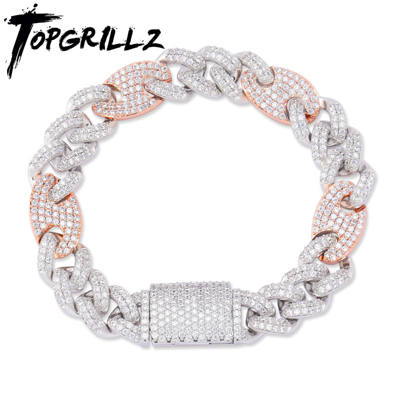 "TOPGRILLZ 12mm Big Box Clasp Cubic Zircon Miami Cuban Link Bracelet Iced out Men's Hip hop Rock Jewelry AAA CZ Chain 7"" 8"" 9"""