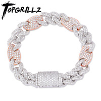 TOPGRILLZ 12mm Big Box Clasp Cubic Zircon Miami Cuban Link Bracelet Iced out Men's Hip hop Rock Jewelry AAA CZ Chain 7 8 9