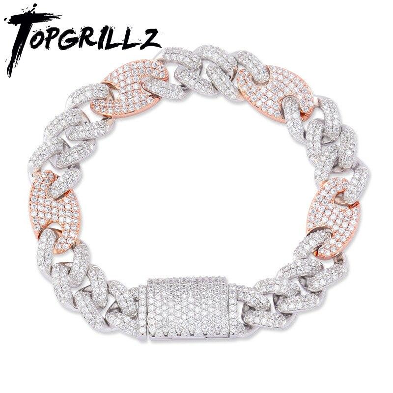 TOPGRILLZ 12mm grande boîte fermoir cubique Zircon Miami lien cubain Bracelet glacé pour hommes Hip hop Rock bijoux AAA CZ chaîne 7