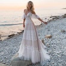Богемное свадебное платье es boho кружевное с открытой спиной