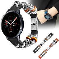 Für Samsung galaxy watch Aktive 2 40mm 44mm 42mm Echtem Leder 20mm Uhr band Strap Retro Armband uhrenarmbänder Active2 ремешок