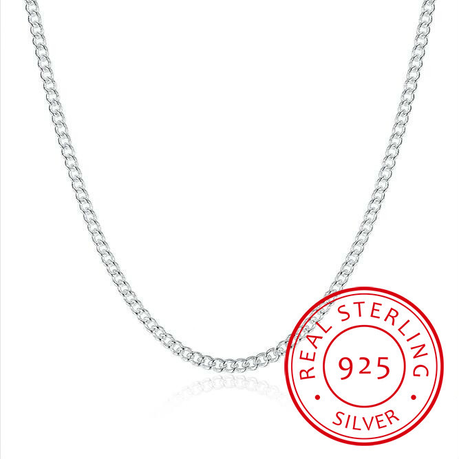 Cadeia Lateral 2mm das mulheres 925 Sterling Silver 16