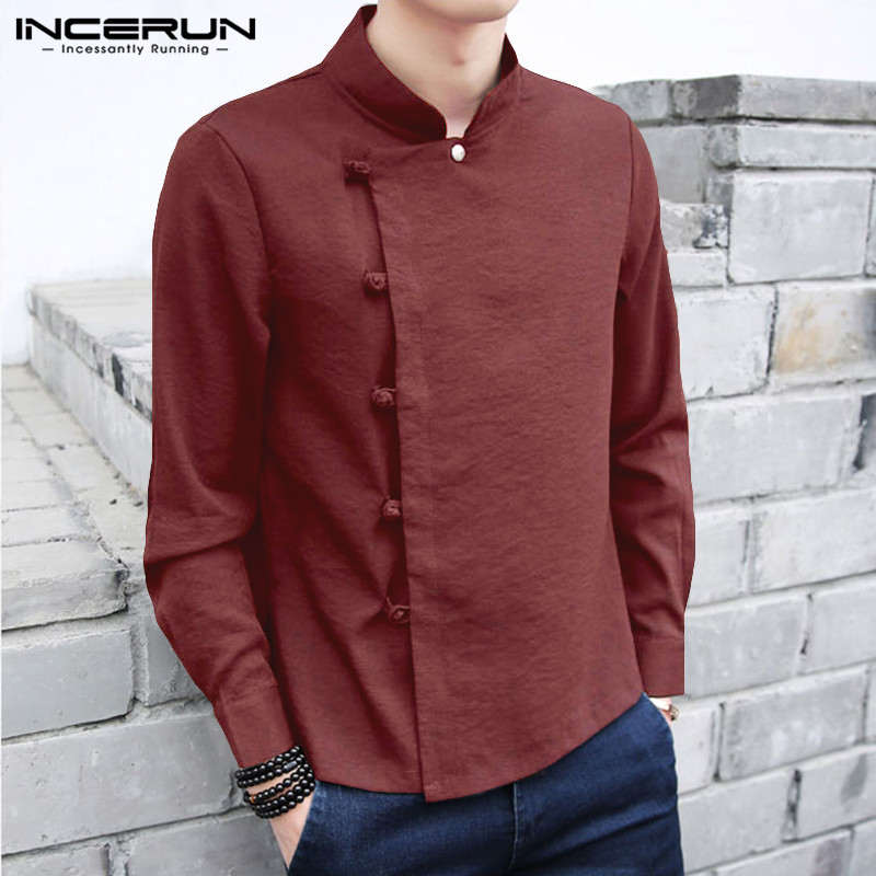 INCERUN Chinese Style Shirt Men Cotton Linen Long Sleeve Solid Color 2020 Retro Tang Suit Button Stand Collar Casual Men Shirts