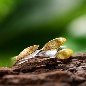 Image 4 - Lotus Fun Real 925 Sterling Silver 18K Gold Rings Handmade Fine Jewelry Creative Minimalist Design Leaves Rings for Women Bijoux