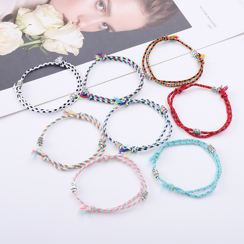 Adjustable Multicolor Rope Charm Braided Bracelets For Kids Women Men Vintage Friendship Bracelet Protection Macthing Jewelry