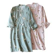 Camisón de algodón para hombre y mujer, bata cómoda de gasa con estampado de gatito, Kimono, ropa de dormir, Primavera, holgada, para casa