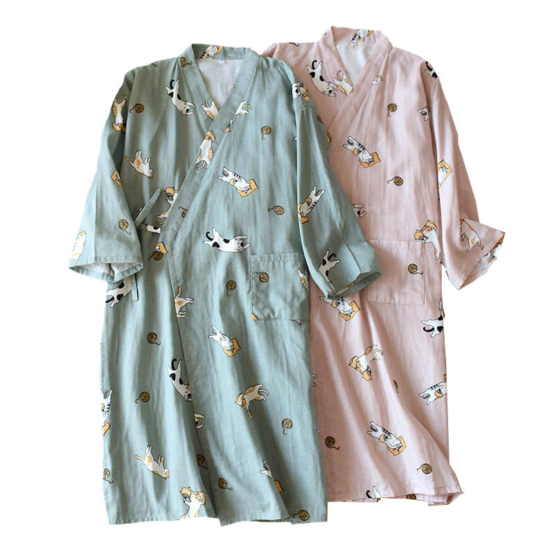 Lovers' Nightgown Men And Women Comfort Gauze Cotton Robes Cute Kitten Printed Kimono Sleepwear Spring New Couples Loose Homewar
