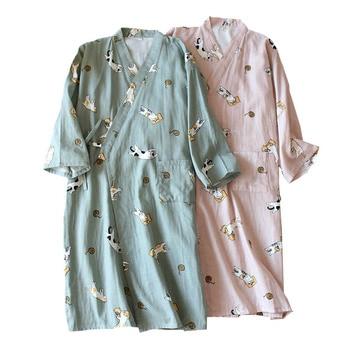 Lovers' Nightgown Men And Women Comfort Gauze Cotton Robes Cute Kitten Printed Kimono Sleepwear Spring New Couples Loose Homewar