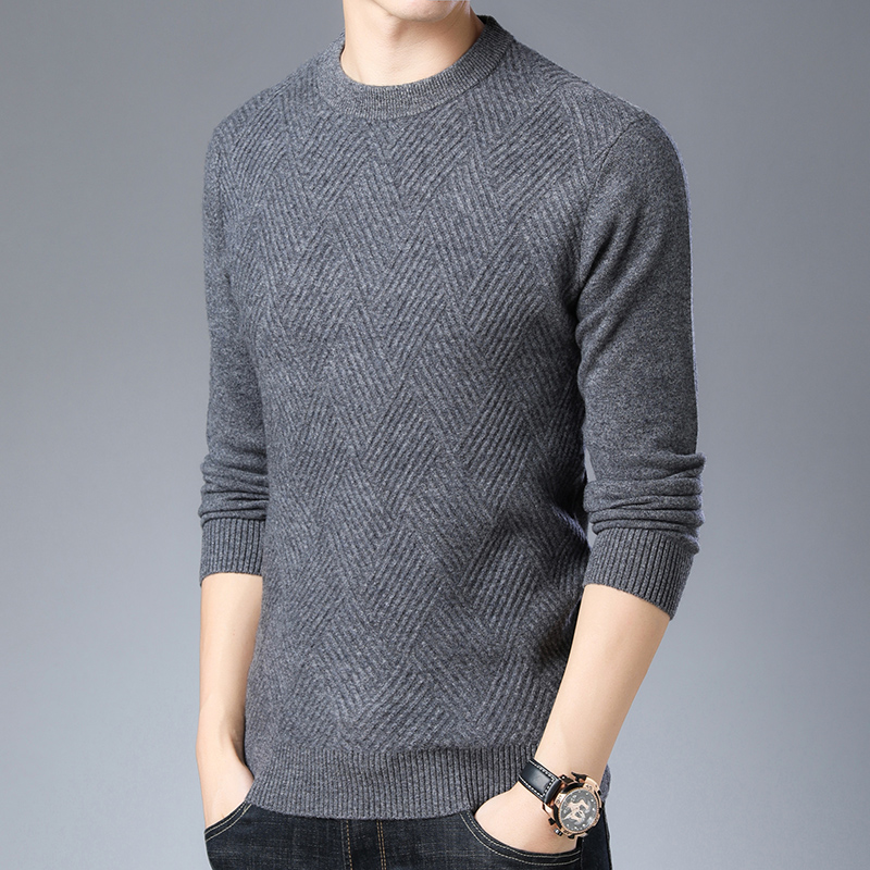 Men Pure Wool Sweater Autumn Winter Fashion Plaid Cashmere Sweater Long Sleeve 100% Wool Jumper Free Shipping
