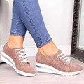 Outono mulher plana bling tênis casuais sapatos vulcanizados feminino rendas até senhoras plataforma conforto mocassins de cristal zapatos de mujer