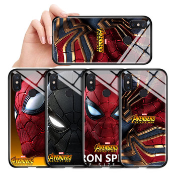 Marvel Avenger Spiderman Soft Edge Glossy Tempered Glass Case For Xiaomi 6 8 9 Pro 8SE 9SE 9T 10 Pro A3 CC9e Back Cover Casing image