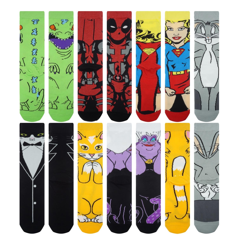 Cartoon Anime Print Socks Patrick Star Personalized Novelty SOCKS Men Women Breathable Cotton Superman Captain Avengers Socks