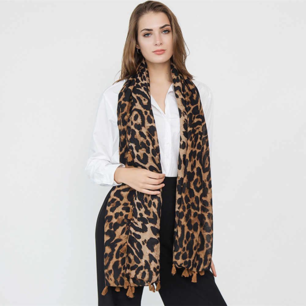 Diseñador de las mujeres de invierno bufanda clásica con impresión de leopardo de sarga de bufandas de moda para mujer marca de lujo de envolturas de Manta