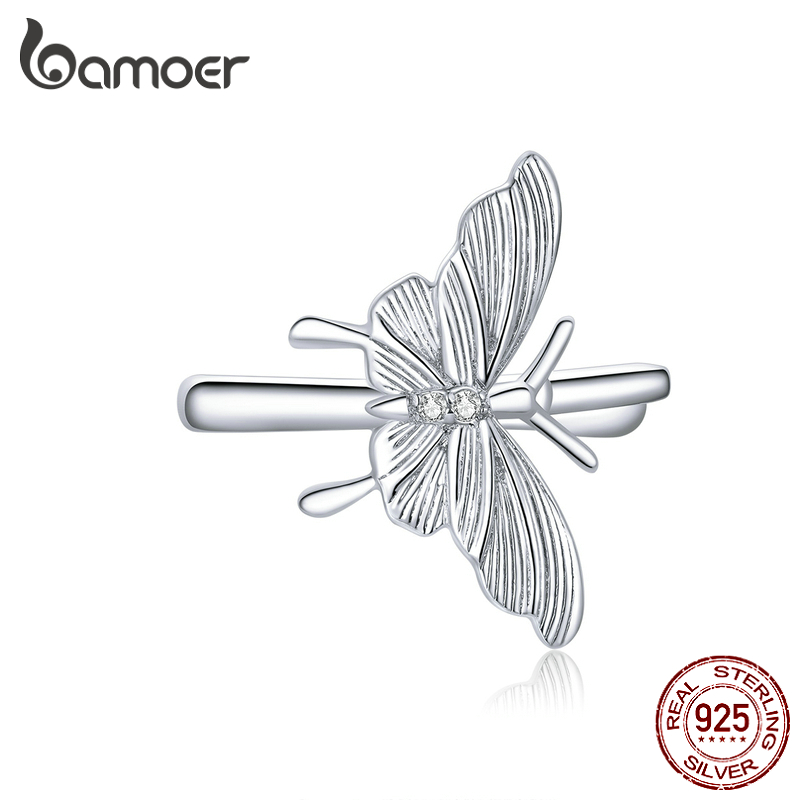Bamoer Authentic 925 Sterling Silver Butterfly Ear Clips For Women Real Silver Jewelry Hypoallergenic Kid Gifts For Girl BSE353