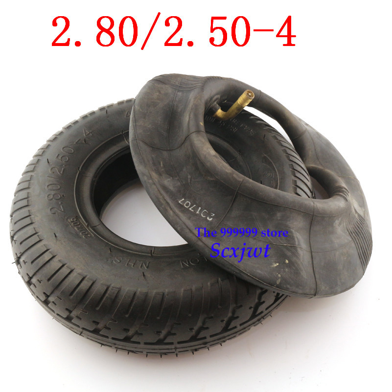 Size <font><b>2.80/2.50</b></font>-<font><b>4</b></font> inner and outer tire 280/250-<font><b>4</b></font> air tyre fits Gas / Electric Scooter ATV Elderly Mobility Scooter image