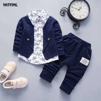 YATFIML Baby Clothes Boys suits for wedding Kids British Wind Birthday Dress Boygentleman suit Children clothing 0-3Y