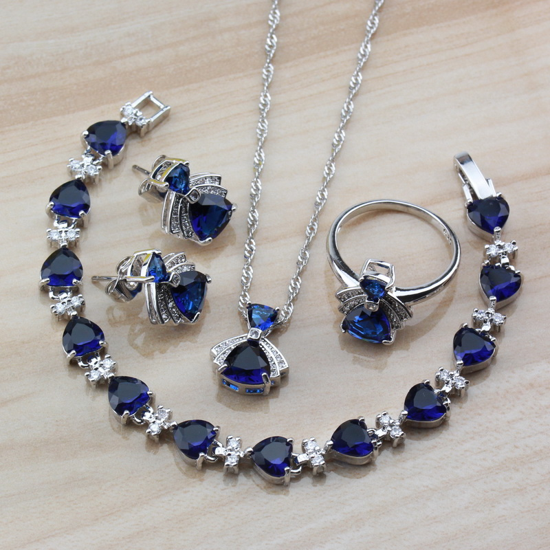Jewelry-Sets Blue-Accessories Natural-Stone 925-Silver Wholesale 4PCS of Women with CZ