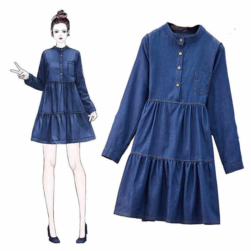 XL-5XL, новинка 2019, большие размеры, джинсовое платье, женские весенне-осенние Мини платья с длинными рукавами, повседневные свободные джинсы, платье